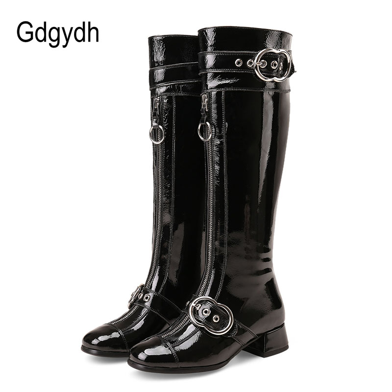 Gdgydh Genuine Leather Knee High Boots Women Sexy Buckle Rubber Sole Patent Leather Winter Boots Woman