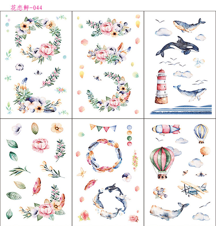 6 Pcs/pack Whale Love Flower Decorative Stationery Stickers Scrapbooking DIY Diary Album Stick Lable