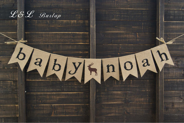 Burlap Baby Name Banner, Baby Shower Decoration, Rustic Shower, Pregnancy  Photo Prop,