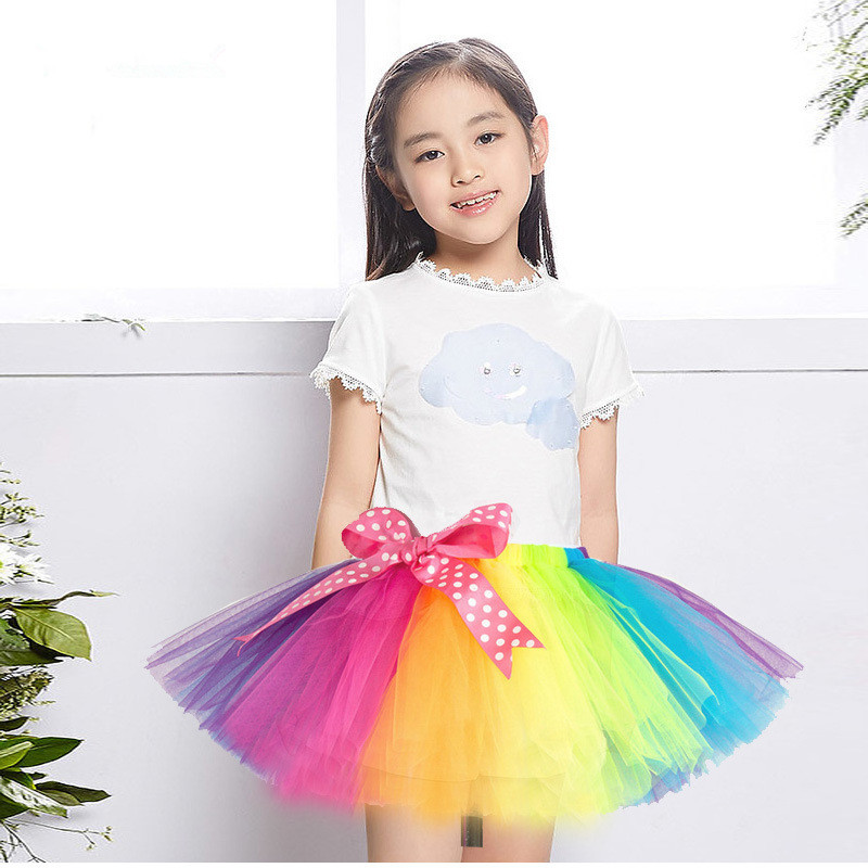 2 12Y Cute Children 39 s Rainbow Gauze tutu Skirts For Girls Performance Dance Ribbon Bow Shag tutus Skirt Kids Costumes in Skirts from Mother amp Kids