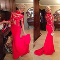Elegant Red Long Sleeve Prom Dresses 2017 Lace Appliques Floor Length Court Trian Mermaid Evening Gowns