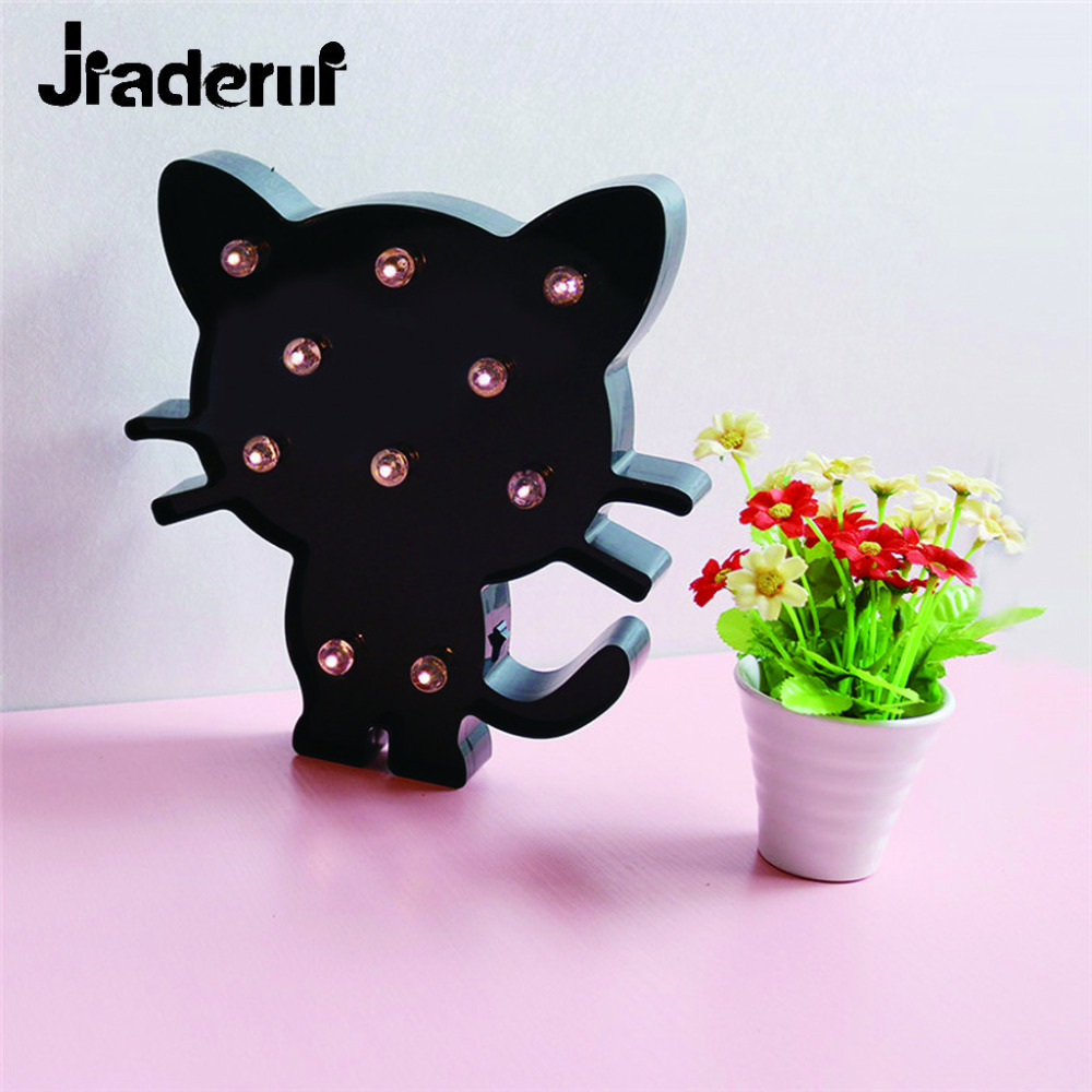 Jiaderui Creative Baby LED Night Lights Black Cat Home Bedroom Wall Decorations Bedside Lamp for Kids Children Christmas Gifts infant baby children handprint footprint white contracted hanging wall photo frame christmas gifts for children scale 3 5