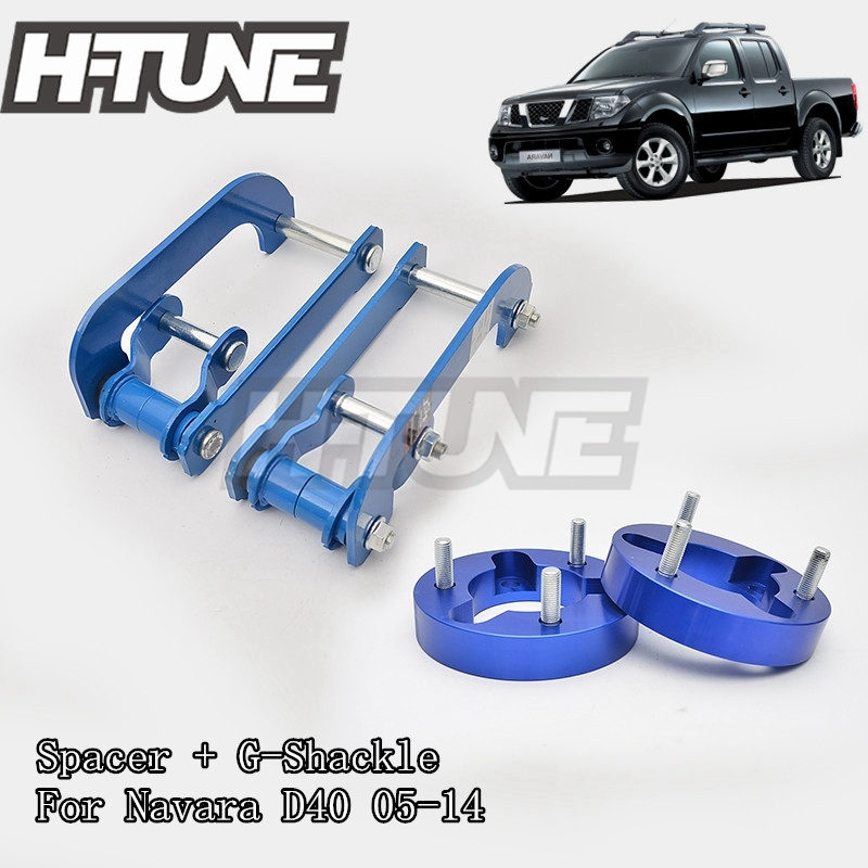 H-TUNE 4x4 Accesorios 32mm Front Spacer and Rear Extended 2 inch G-Shackles Lift Up Kits 4WD For Navara D40 05-14 h tune 4x4 accesorios 1inch suspension lift kits front coil strut shock spacer for d max 2007 2010
