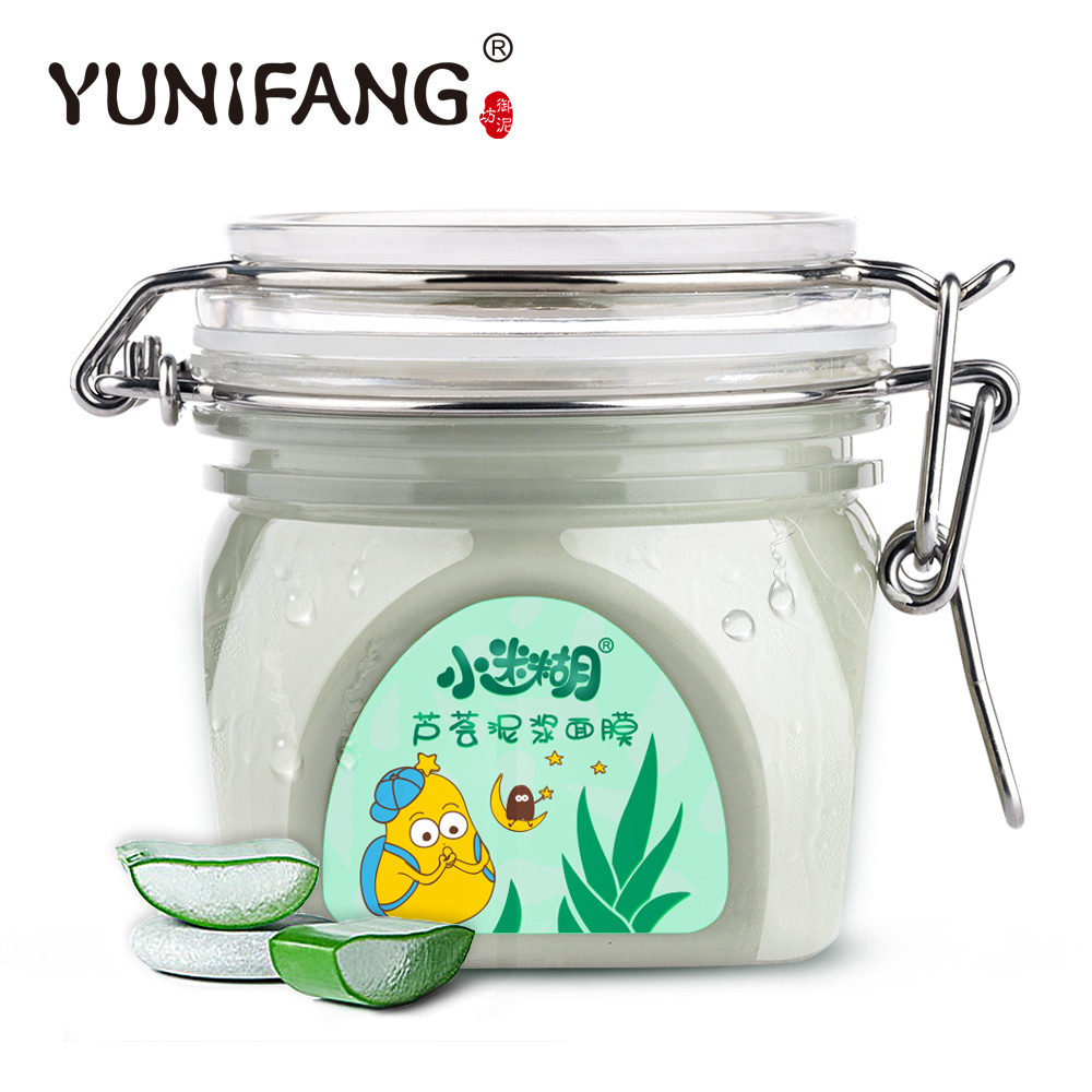 skin care YUNIFANG Aloe Mud Mask 280g acne clean scar remover facial mask anti acne anti bleakhead face vocanical clay mask mythos clean skin купить оптом