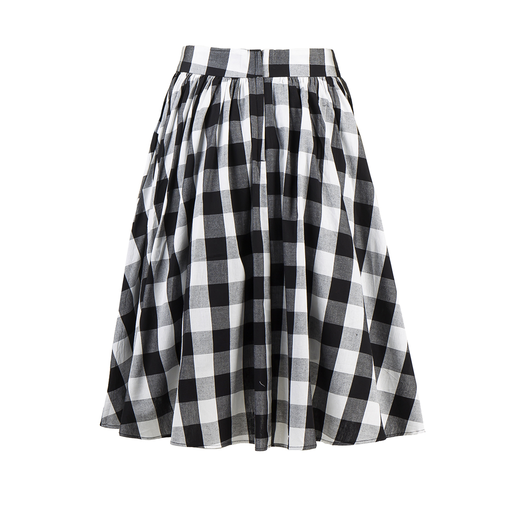 26117f0ea3eb8f Candow Look Girl's High Waist Black White Gingham Tutu Skater Skirts A Line  Cute Retro Swing Plaid Vintage Midi Pleated Skirt-in Skirts from Women's ...