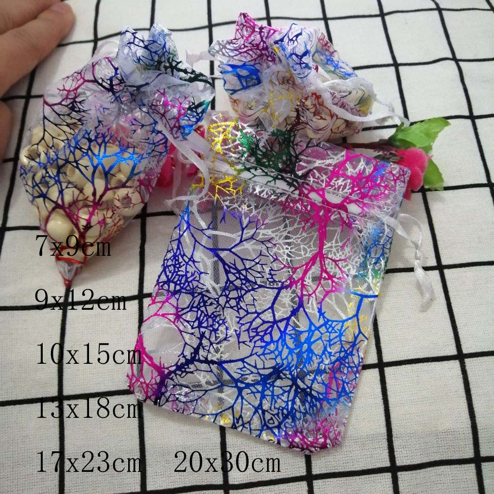 Hot 50pcs/Lot Coral Drawstring Organza Bags 7x9 9x12 10x15 13x18cmJewelry/Christmas/Wedding/Birthday/Gift Packing Storage Bags