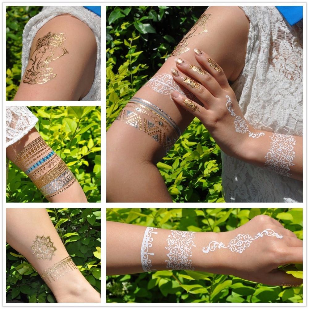 1 шт. флеш металлик водонепроницаемый временная татуировка Золото Серебро Мужчины Женщины хна GH-29 якорь ожерелье браслет дизайн тату наклейка