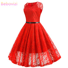 Bebovizi 2019 Summer New Women Casual Office Plus Size Vintage A-Line Dress V-Neck Sexy Elegant Tank Red Lace Bandage
