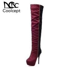 Coolcept Size 31 46 Women Over Knee Boots High Heel Winter Bota Feminina Equestrian Fashion Long