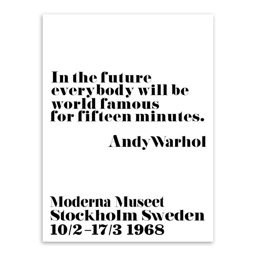 Moderno nórdico negro blanco minimalista tipografía Warhol Life ...