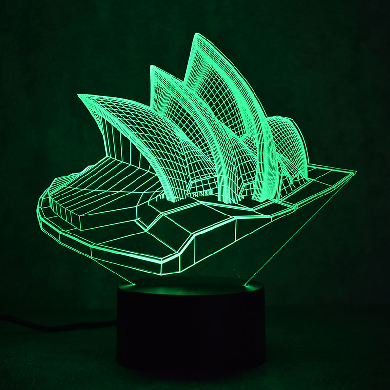 Novelty 3D LED Table Lamp Visual Sydney Colorful Light Fixture USB - Night Lights - Photo 3