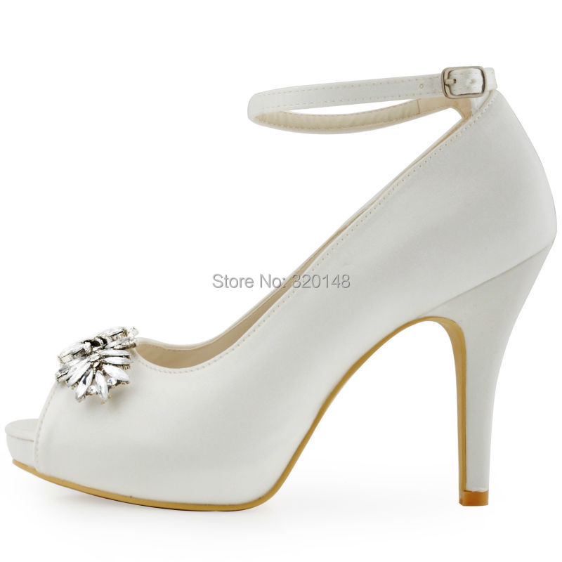 Hp1544 White Ivorywoman Wedding Shoes High Heel Platform Ankle Strap Crystal Buckle Satin Las Bride Bridal Evening Prom Pumps In Women S From