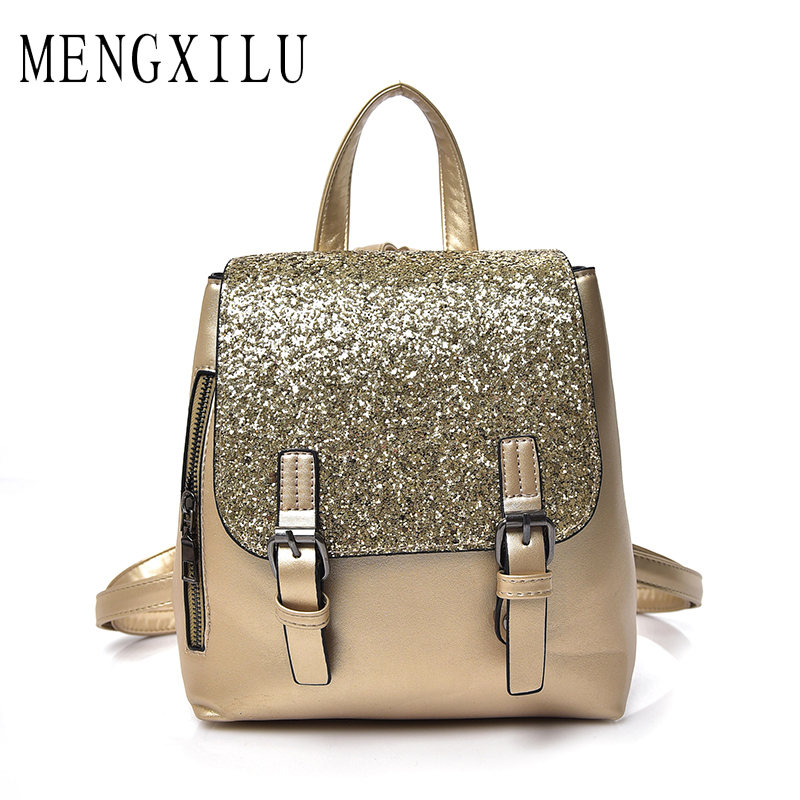 цена MENGXILU Fashion Silver Backpack Female 2018 Shine Backpacks Women backpacks For Adolescent Girls Mochila Feminina School Bag