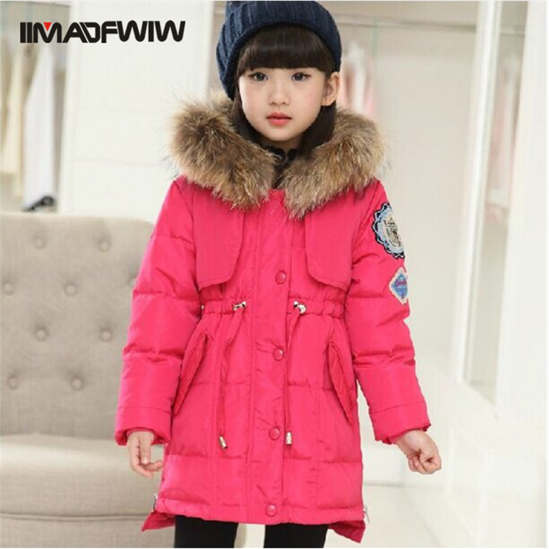 ФОТО Children Girls Long Duck Down Jacket Coat Fashion Raccoon Fur Collar Winter Outerwear Hooded Thick High Quality For 6-12T