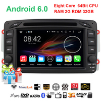 2G 32G Android 6 0 1 CAR DVD Player FOR MERCEDES BENZ CLK W209 M W163