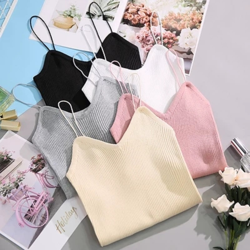 Tank     Tops   Women Summer Knitted Chic Sexy Crop   Top   White   Tank     Top   Women Ladies Clothes Halter   Top   Black Cropped 2019 New Harajuku