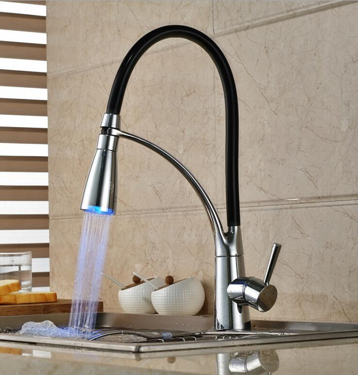 Taps Kitchen Sinks Black and chrome finish kitchen sink faucet deck mount pull out dual led pull down kitchen mixer faucet led sink kitchen tap kitchen faucet pull out grifos led workwithnaturefo