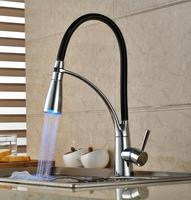 Led Pull Down Kitchen Mixer Faucet Led Sink Kitchen Tap Kitchen Faucet Pull Out Grifos Led