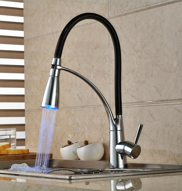 Led Pull Down Kitchen Mixer Faucet Sink Tap Out Grifos