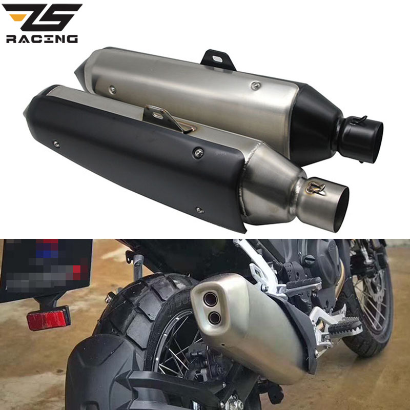 ZS Racing 60mm Motorcycle Exhaust Pipe Muffler Eexhaust Tubo Escape Moto Escapamento De Moto For BMW G310 Honda NC750X KTM mokali tubo escape moto universal refires cb400 cbr29 motorcycle modified exhaust end to end exhaust pipe escapamento motocross