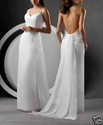 Matching simple sexy spaghetti strap open back organza for Sexy open back wedding dress
