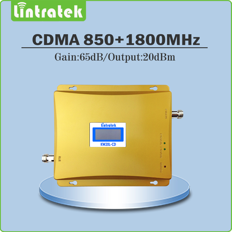 Lintratek Mobile Phone Signal Booster Store LCD Display Gain 65dB CDMA DCS Dual Band Signal Repeater repetidor de celular 850Mhz 1800Mhz mobile signal booster