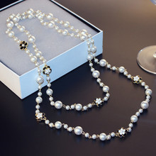 CX-Shirling Luxurious Alloy Necklace Quality Crystal Camellia cc Long Pearl Necklaces Mulity Layers Bijouter Collier femme