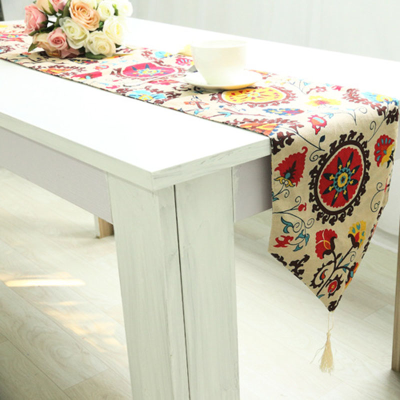 Linen Table Runner Modern European Style Runners Garden Coffee Table Runners  Stylish Simplicity Tassels Bohemian Bed Tafelloper In Table Runners From  Home ...
