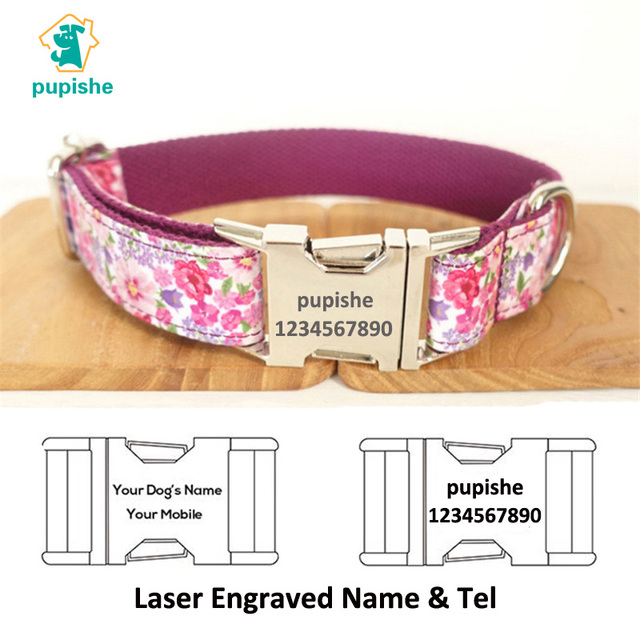 1bfcf145432 Designer Dog Collars Personalized Pet Collar Custom Engraving Purple Flower  Pattern Nylon Dog Collar and Leash Set Small Big Dog