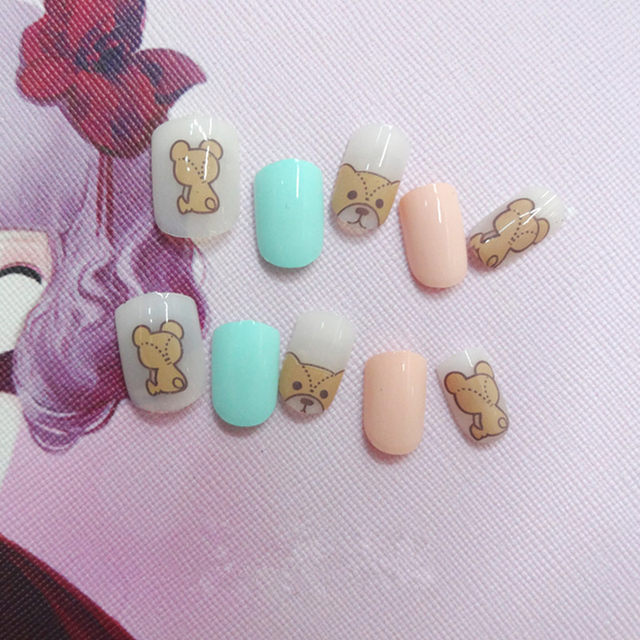 Online Shop Cute Dog Children Fake Nail Tips Kids with Glue Full ...