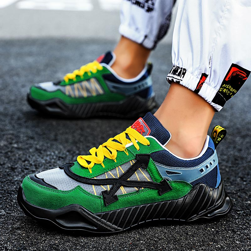 Summer Breathable Running Shoes Man Sport Shoes Male Sneakers Men Athletic Shoes Sports Green Training Trainers Footwear B-217