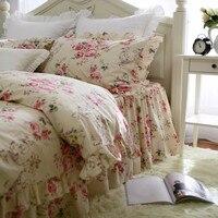 Top Romantic ruffle lace bedding set beautiful garden flower bedding bed set embroidery king bedding set cotton duvet cover set
