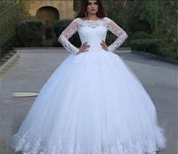 Robe De Soiree white lace appliques ball gown wedding dress long sleeve beading sequins puffy wedding gowns best selling