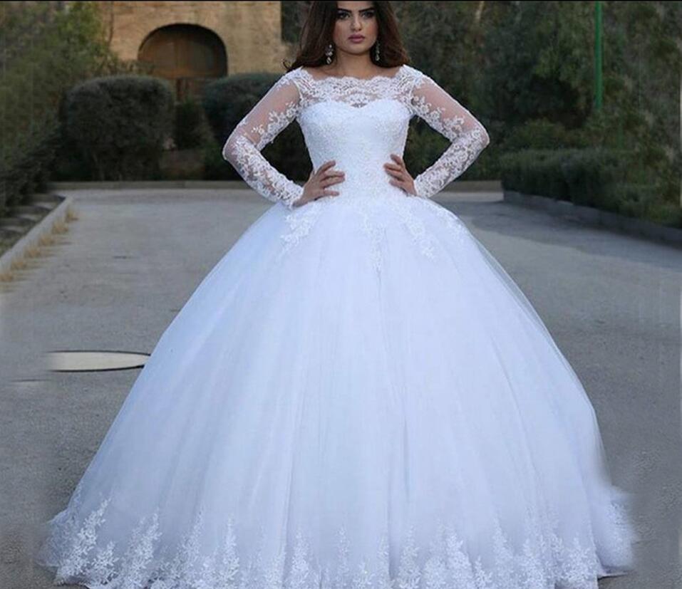 Robe De soirée dentelle blanche appliques Robe De bal Robe De mariée à manches longues perles paillettes bouffantes robes De mariée meilleure vente
