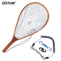 Goture Nylon Fly Fishing Net Landing Network Fish Trap + Magnetic Buckle + Lanyard(Safety Rope) + 8 Shape Buckle