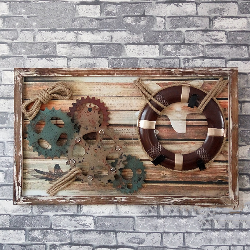 Retro Industrial Wind Metal Gear Wood Board Painting KTV Bar Cafe Cafes Loft Decorative Painting Wall Hanging Gear Wall Decor