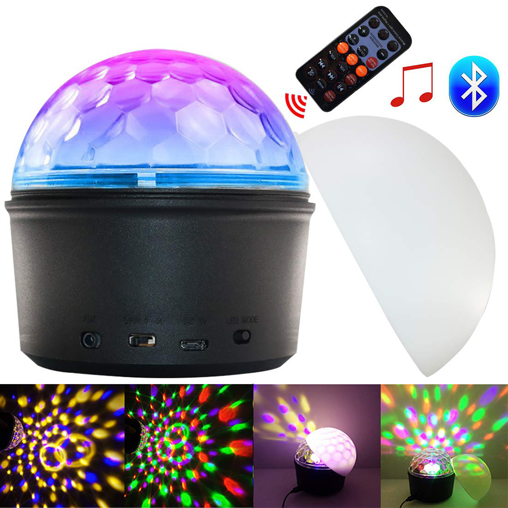 USB Disco Lights Led Crystal Magic Ball Light 9 Colors Sound Activated Projector Lamp With Bluetooth Speaker Remote Control