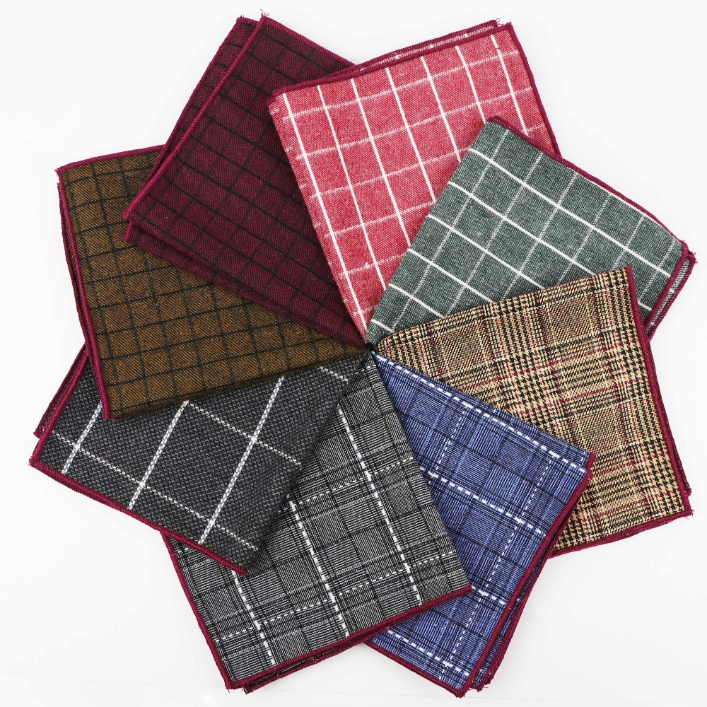 Striped Cotton Handkerchiefs Woven White Black Red Blue Pocket Square Mens Casual Squares Pockets Handkerchief Towels