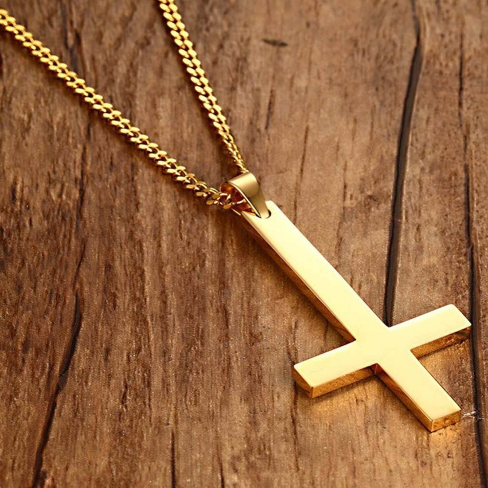 2018 New Fashion Style 3 colors Inverted Cross Pendant Necklace For Men Stainless Steel Choker Jewelry For Women Man Gifts