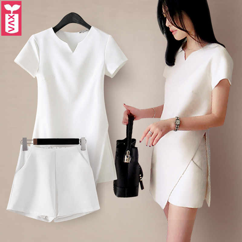 Two-Piec 1Set 2018 Ladys White Long T-shirt And Shorts Twinset Womens Side Split Pockets Summer Clothing Short Sleeves Tops