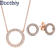 Boosbiy High Quality Jewelry Sets for Women Round Cubic Zircon Brand Necklace/Earrings Jewelry Sets Wholesale Valentine Gift cwwzircons brand clear cubic zircon long big wedding necklace sets jewelry accessories for brides t162