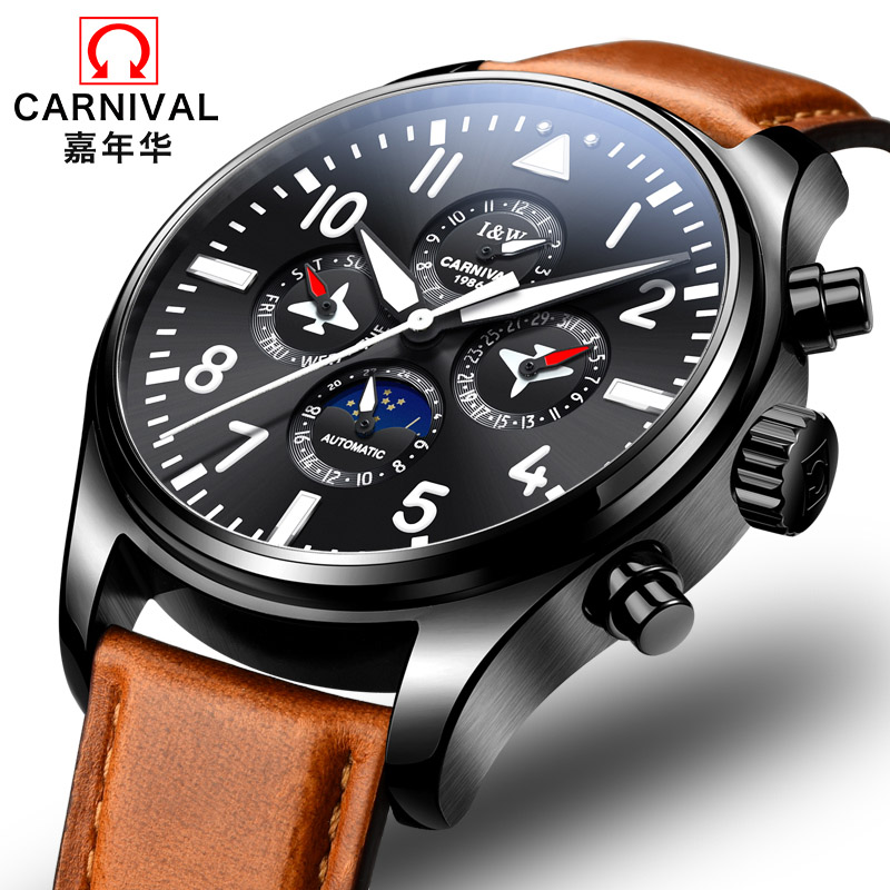 Carnival Fashion casual Luminous Watch Top Brand Luxury Moon phase Automatic Watch Men Leather band Week date mechanical watches sollen mens watches top brand luxury moon phase automatic mechanical watch men casual fashion leather strap skeleton wristwatch