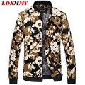 LONMMY 6XL Мужские куртки и пальто Цветочный печати Стенд воротник цветочные мужчины куртка Марка одежды Мода куртка мужчины пальто Новый 2016