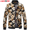 LONMMY 6XL Mens jackets and coats Flower print Stand collar Floral men jacket Brand clothing Fashion jacket men coat New 2016