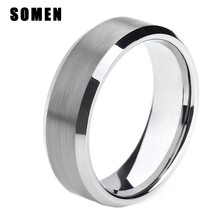 8mm Mens Tungsten Ring Wedding Band Matte Finish Brush Center Comfort Fit High Polished
