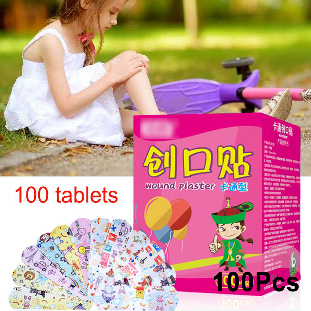 Cute Band Aid Waterproof Cartoon Breathable Hemostasis Adhesive Bandages Security First Aid Stickers For Kids Children 100Pcs