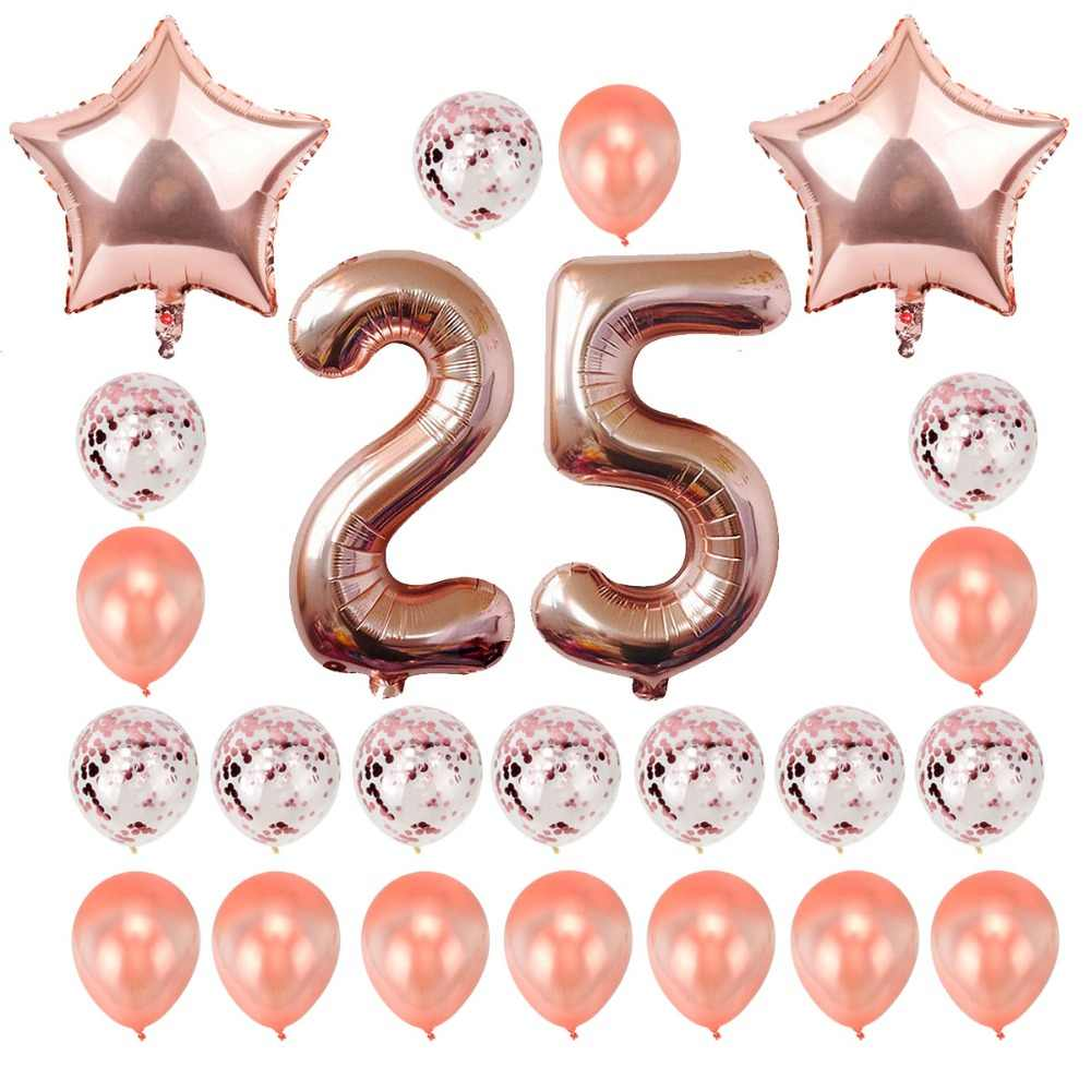 Heronsbill 32 Inch Number 25 Foil Balloons 25th Birthday Party Decoration Anniversary Supplies Rose Gold
