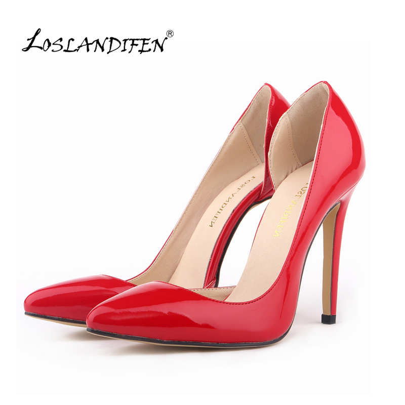 LOSLANDIFEN Sexy Leather High Heels Women Shoes Pumps Spring Autumn Brand Wedding Work Pumps 20 Colors Size 35-42  302-18PA sexy pointed toe high heels women pumps shoes new spring brand design ladies wedding shoes summer dress pumps size 35 42 302 1pa