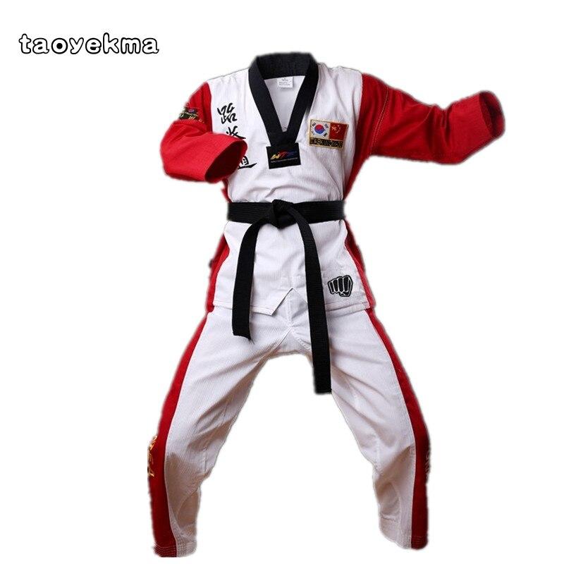 Top Quality Colored Taekwondo Uniform for Adult Child Teenagers Poomsae Dobok Red Blue Black TaeKwondo Karate