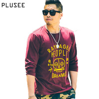 Plusee Men Trend T Shirt Red Spring Loose Fall Cotton Casual Full Sleeve Cartoon Skull Plus